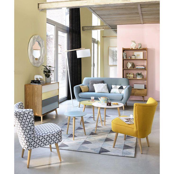 Grijze en witte bedrukte katoenen vintage zetel | Maisons du Monde