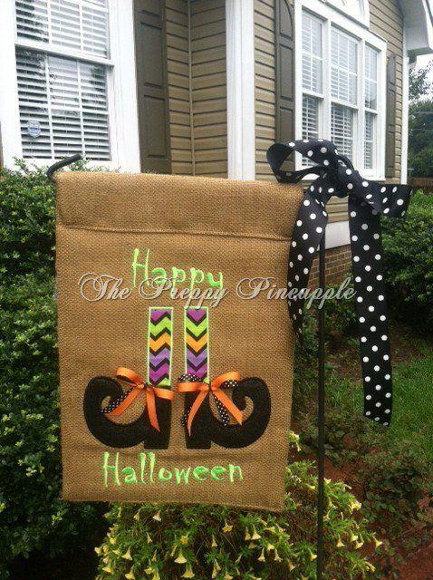 Halloween burlap garden flag by ThePreppyPineappleSC on Etsy