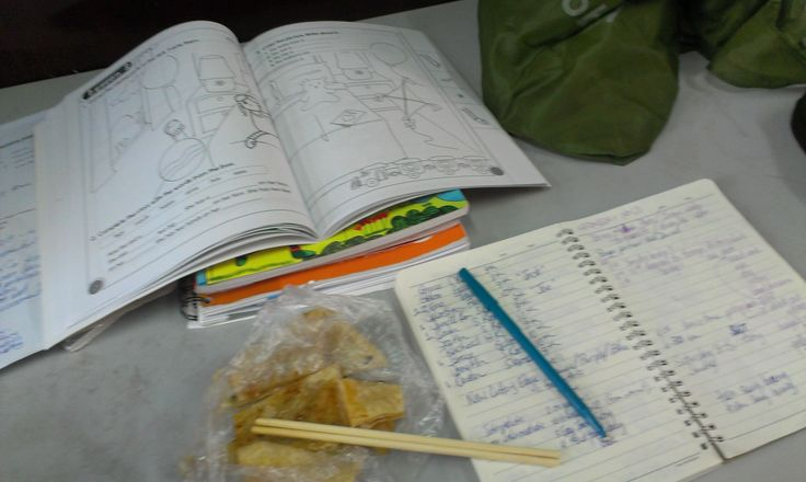 Lesson planning over street food breakfast 50¢ is a flat bread with sesame seeds & green onion with a chili paste spread = tien sung bing... I just give the vendor 3 kuay and she weigh and gives me breakie in a bag with chopsticks :) yum