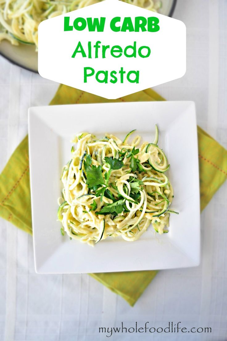 This Creamy Alfredo Pasta is dairy free, low carb and low calorie thanks to a secret ingredient.  Go ahead and eat a big plate.  #vegan #glutenfree #grainfree #paleo