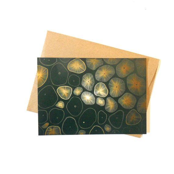 Postcard with enevlope Microorganisms by AnnaGrundulsDesign #postcard #design #envelope #drawing #abstract #biology #infograpgic #gold #plants #plant #inspiration #exhibition #art #wild #etsy #abstraction #painting #polish #paper #cardstock #gift