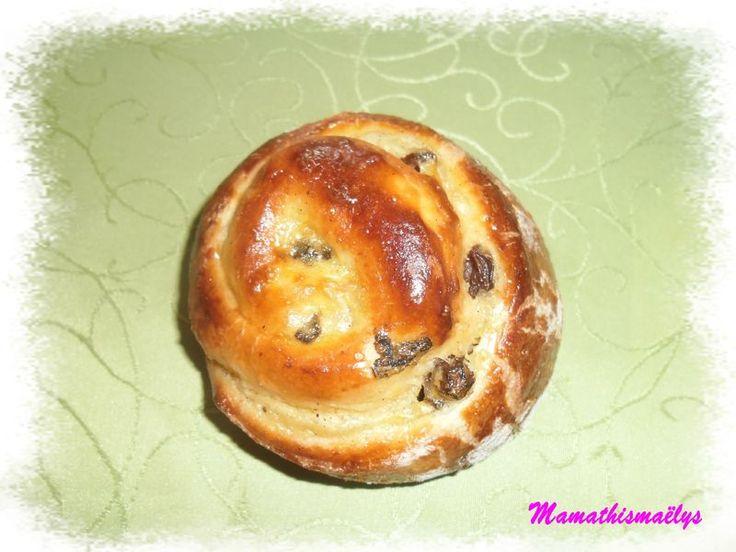 Escargots briochés aux raisins et à la crème patissière