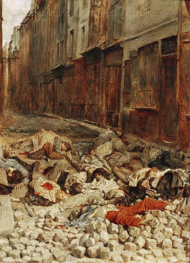 Meissonier,Jean Louis Ernest.La barricade rue de la Mortellerie,juin 1848 -   Brricade in the Mortellerie,Paris,June 1848.   Painted 1850/51 Canvas,29 x 22 cm   R.F.1942-31