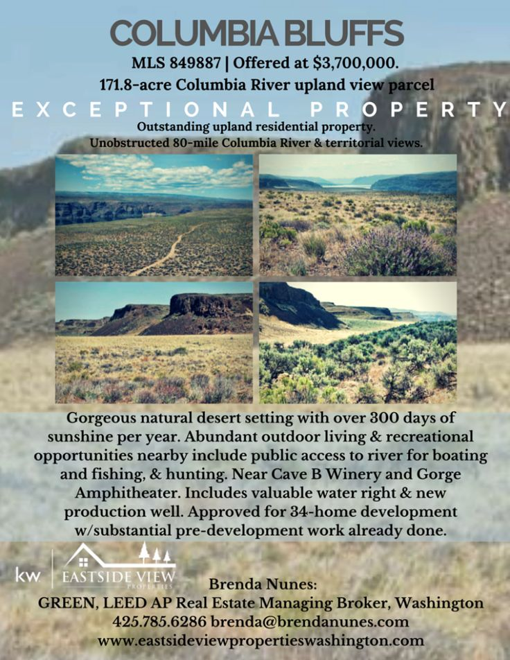 Columbia Bluffs Central Washington. 171.8 acre Columbia River Upland View Parcel. Offered at $3.7 million. Grant County. Approved for 34-home development.