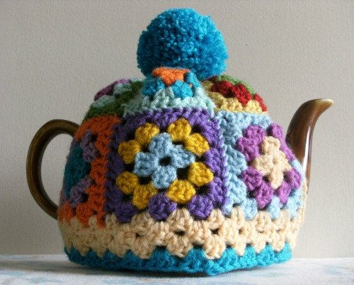 GRANNY SQUARE Tea Cosy Pattern / Tutorial. PDF file instant Download. Tea Cozy. tea Pot Cover. Crochet.