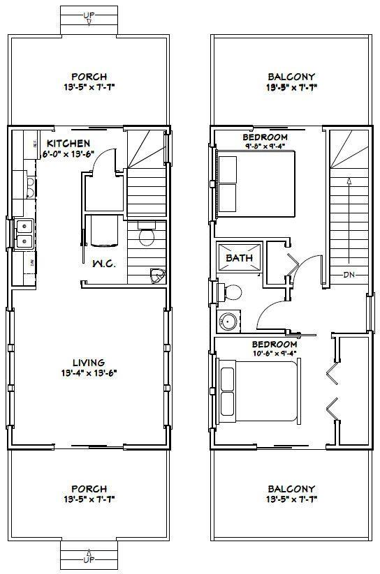 14x28 House 2-Bedroom 1.5-Bath 749 sq ft por ExcellentFloorPlans