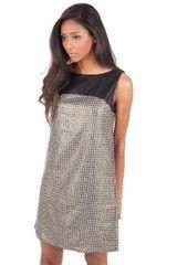 Smart Metallic Sleeveless Shift Dress  $58.00