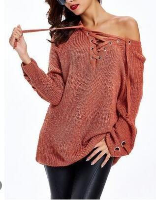 35628cf7ce Women Fashion Sweaters Long Sleeve Knit Sweater V-neck Pure Color Swe –  lalasgal