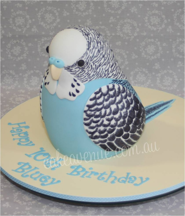 Sculpted Budgie Cake by Cake Avenue, with hand painted details. Stands 10 inches tall.