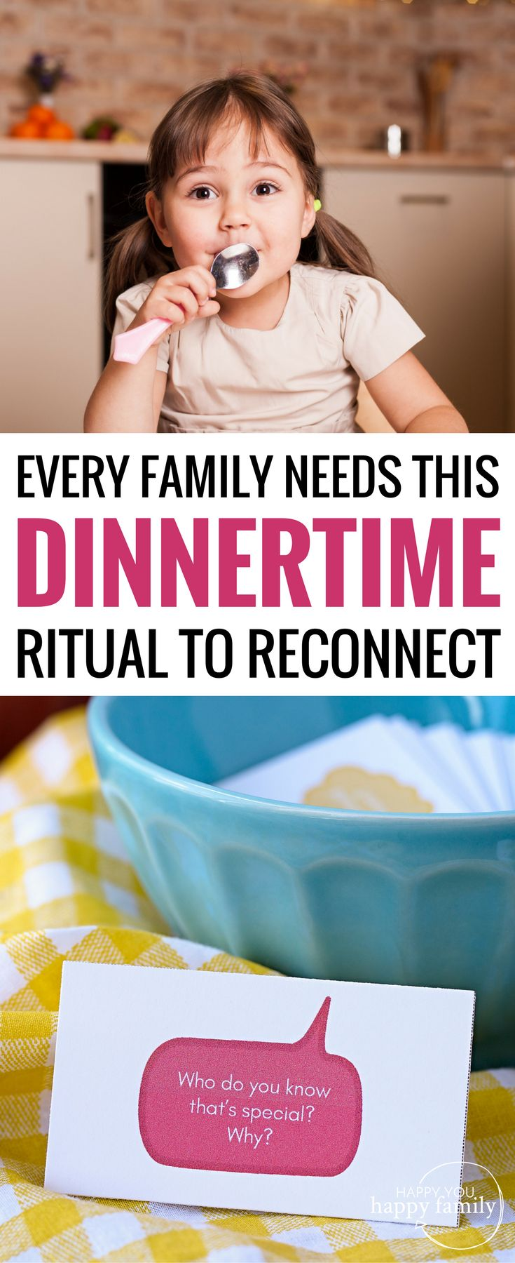 When it comes to familytime bonding activities, this one is a MUST. At the dinner table, take turns asking these conversation starters for kids, and you'll feel closer than ever! Every busy familytime needs this family tradition to reconnect after a hectic work and school schedule all day. These printable family conversation starters are GUARANTEED to give you more than one-word answers from your kids -- the key to unlocking their heart! #familytime #familyfun #dinnertime #kidsactivities