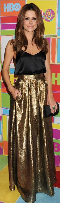 Maria Menouno, gold maxi skirt and black tank top