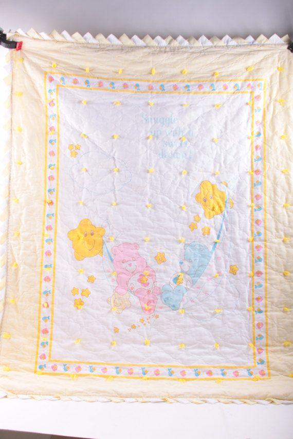 Care Bears, Baby Blanket, Gender Neutral, Vintage, Quilt