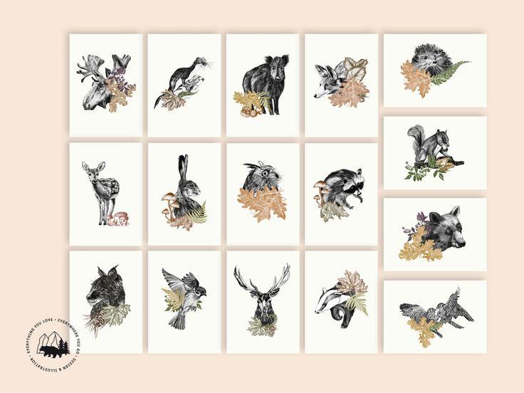 Herbst - Flourish in obscurity   Postkartenset (16 Karten) - ein Designerstück von everywhereyougo bei DaWanda