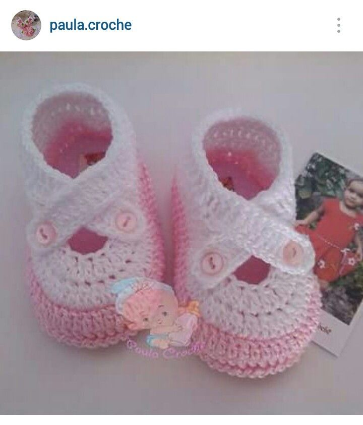 Instagram @paula.croche - crochet baby girl's shoes
