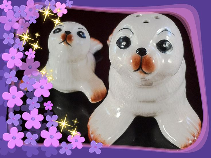 Salt and Pepper Shakers - White SEALS Mother & BABY Set   Display Never Used  VINTAGE by Thriftnstyle on Etsy