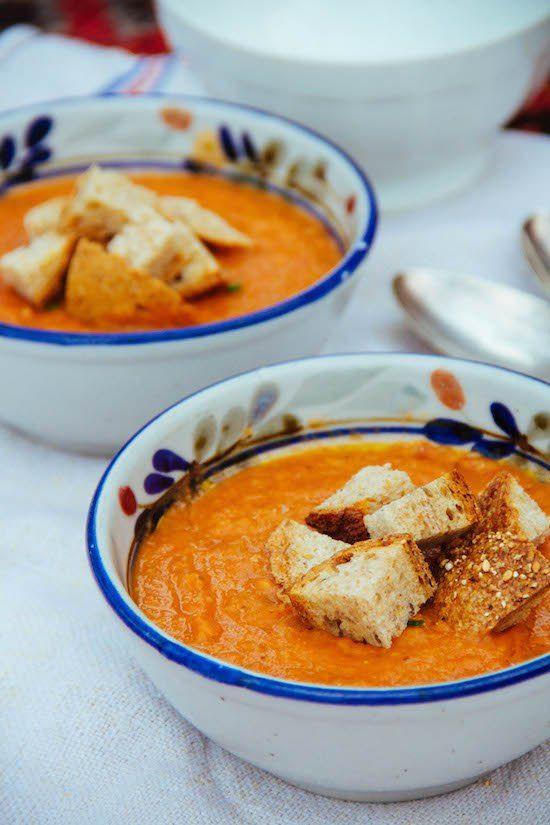 Ottolenghi's Tomato Soup with Cumin + sourdough bread topper