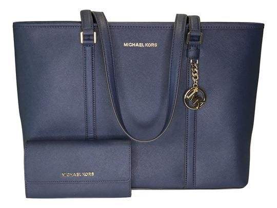 a645e7dfd8ba Michael Kors Sady Large Mf Tz Tote and Matching Wallet Navy Leather  Shoulder Bag. Get one of the hottest styles of the season! The Michael Kors  Sady Large ...
