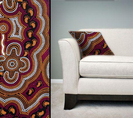 Design:  On Walkabout Wine Size: 50cm square - 100% cotton - zip Australia Made Code: CUSH-BUL06 Price: $30.00