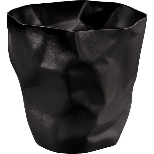 Dot & Bo Crumpled Trash Bin - Black (2.270 RUB) ❤ liked on Polyvore featuring home, home decor, small item storage, black trash can, modern home accessories, black waste basket, modern home decor and black home decor