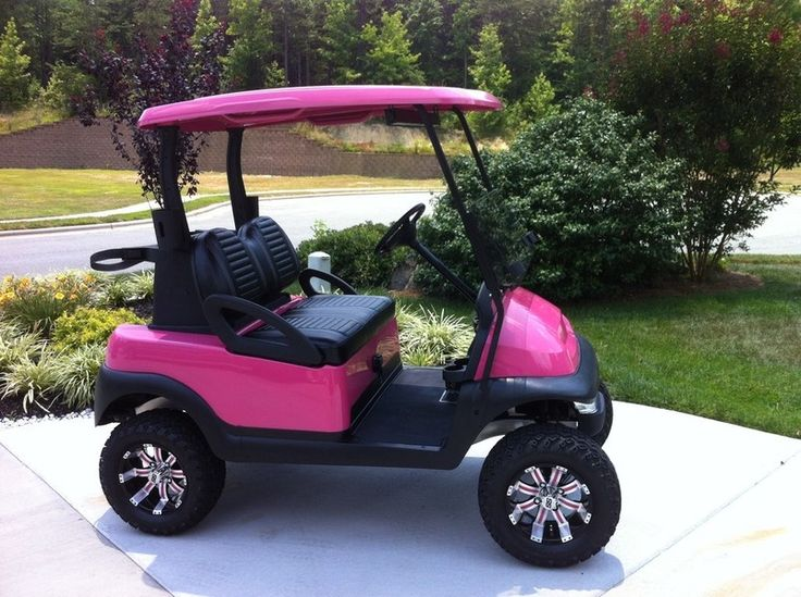 Add some lift kits to your favorite pink colored golf cart! Look here for your lift kits  http://www.pro-fitparts.com/catalog/Lift-Kits #pinkgolfcarts