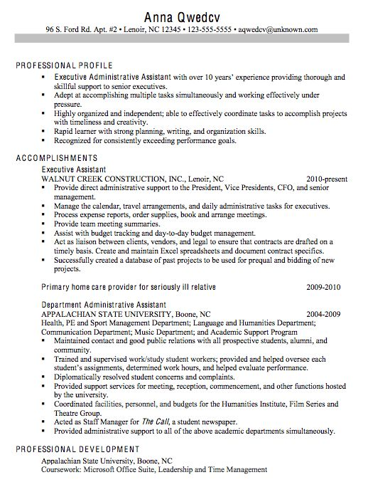 chronological sample resume executive administrative assistant - Administrative Support Resume Samples
