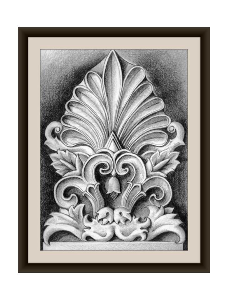Ancient Greek Ornament - Side tile - Framed Print 35x44 cm. Home and Office decor, framed art, wall hanging.Architectural ornament. $199.00, via Etsy.