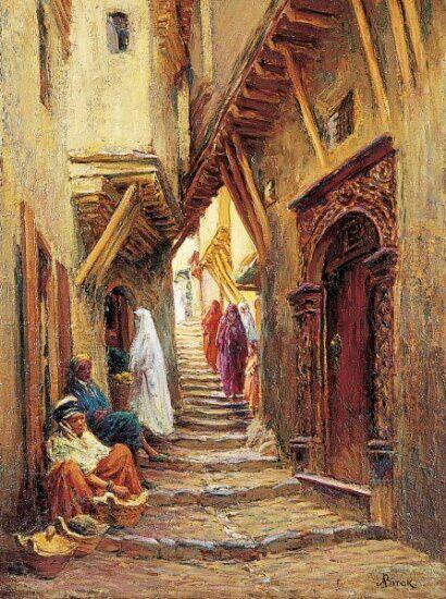 Algérie - Peintre français Alphonse BIRCK (1859-1942) , huile sur toile, Titre: PROMENEURS DANS LA CASBAH D'ALGER Rue Staouéli, (Vieil Alger, Casbah)
