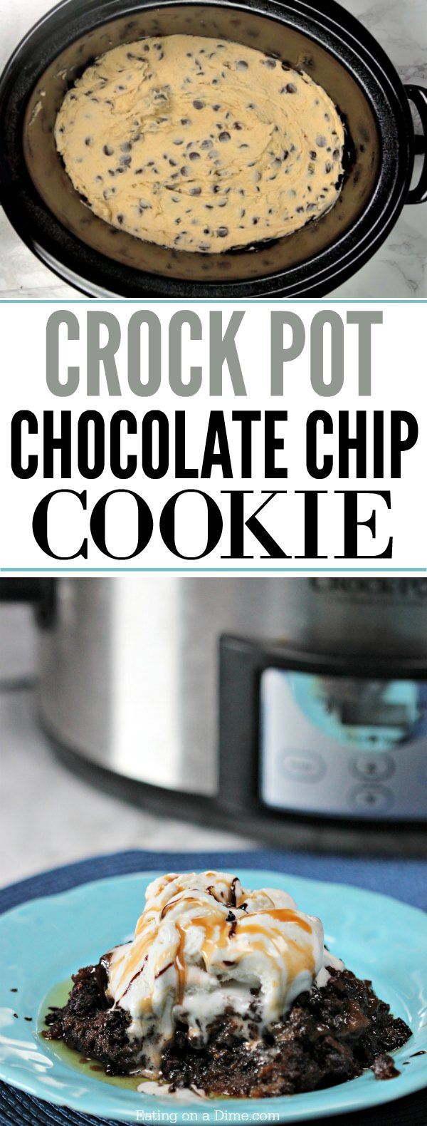 Try this easy crockpot chocolate chip cookie recipe. No need to heat up the kitchen with this quick and easy crock pot dessert! Serve with ice cream!