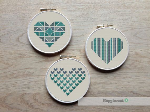 geometric modern cross stitch pattern heart, set of 3,  valentine hearts, PDF pattern ** instant download**
