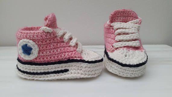 Gehaakte baby sneakers converse all stars schoentjes roze