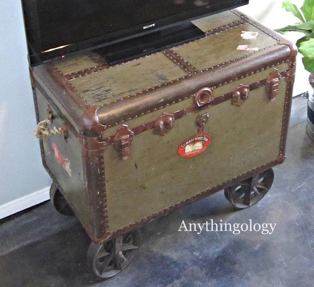 Vintage Steamer Trunk Turned Media Cabinet. Vintage TrunksVintage  SuitcasesVintage LuggageSteamer TrunkMedia CabinetIndustrial StyleFurniture  ...