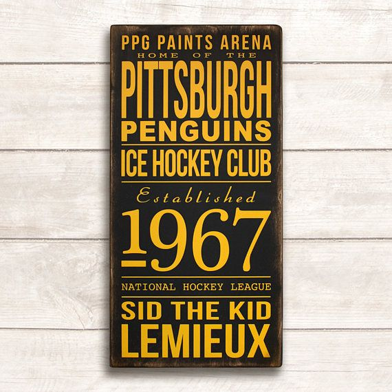 Pittsburgh Penguins Hockey Sign Pittsburgh Penguins Sign