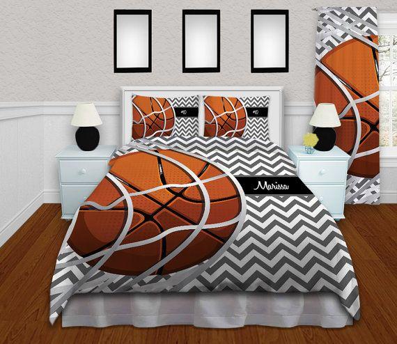 Personalized Kids Basketball Bedding Duvet Cover Gray White
