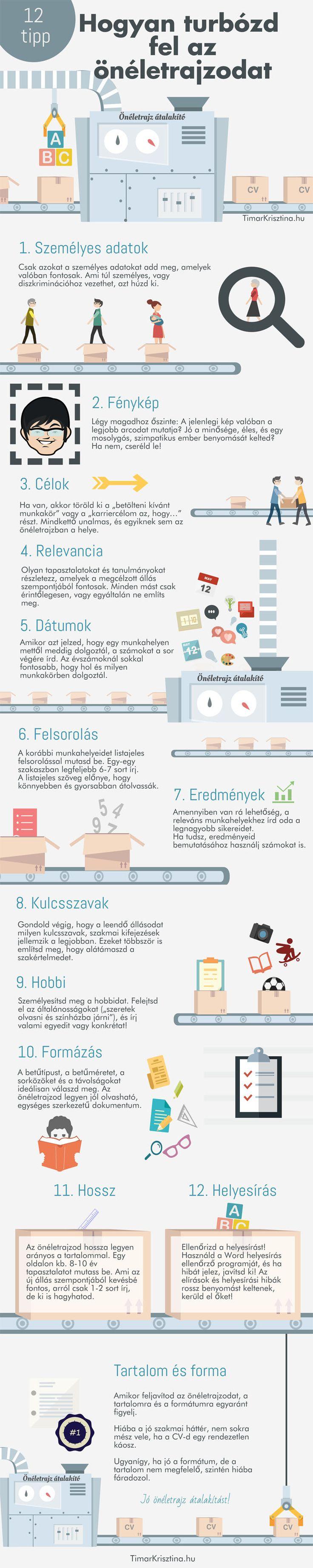 12 tipp, hogyan turbózd fel az önéletrajzodat - Timár Krisztina  #infografika #infographic #önéletrajz #cv #resume