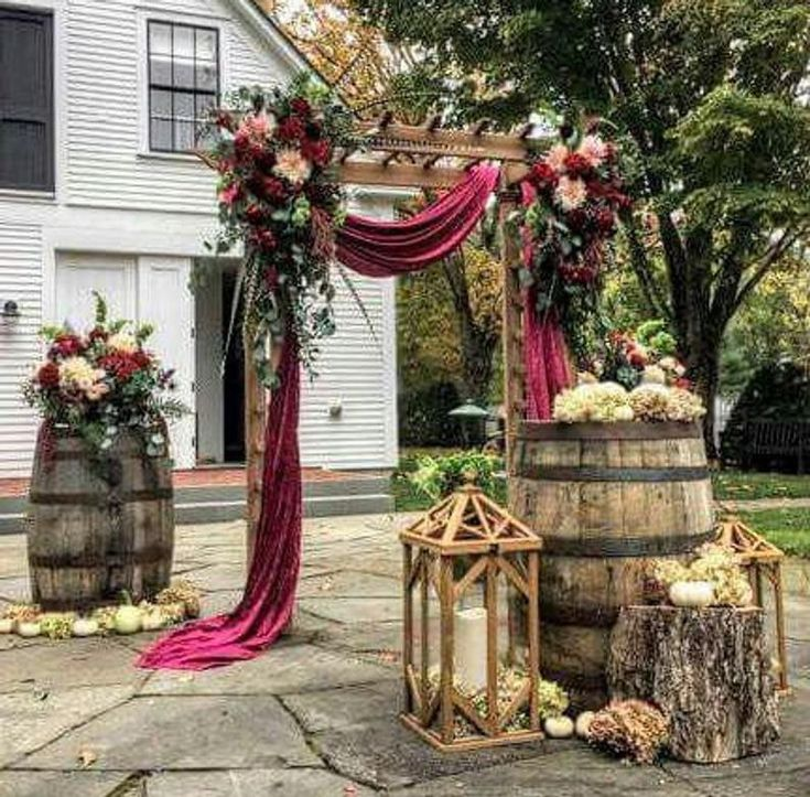 26 Rustic Wedding Ideas That Still Feel Elevated: Wedding Arch Fabric Drape / Velvet Draping Fabric For
