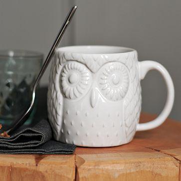 Figurative Owl Mug #WilliamsSonoma: Westelm, Memorial Cups, Memorial Mugs, Measuring Cups, Owl Mugs, Memorial Mornings, Figures Owl, Owls, West Elm