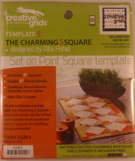 Creative Grids Template Set On Point Charming 5 Square~Non-Slip~Quilt , Fast Shipping, TR122