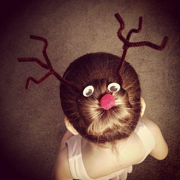 Reindeer ballet hair for @Lisa Phillips-Barton McFadzean's Katie. Love this.