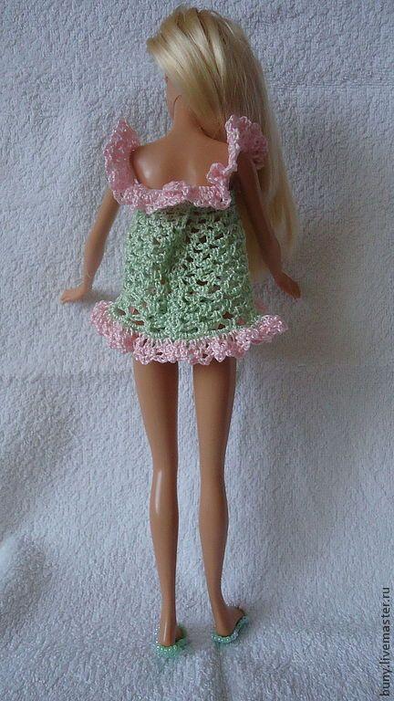 Купить Летняя пижамка - салатовый, одежда для кукол, одежда для барби, кукольная одежда, наряды для барби