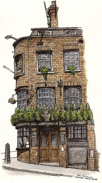 Cheshire Cheese  by petescully, Urban sketchers. I love the use of colour in this image