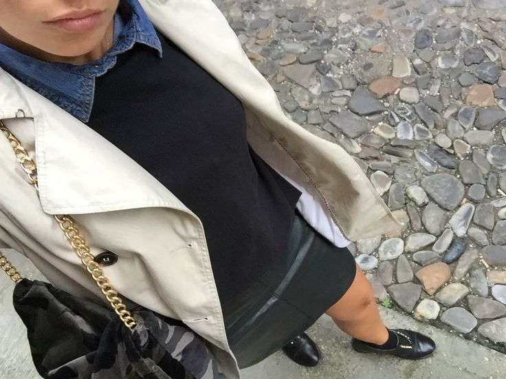 Camo velvet bag + trench + mini Leather skirt + loafer