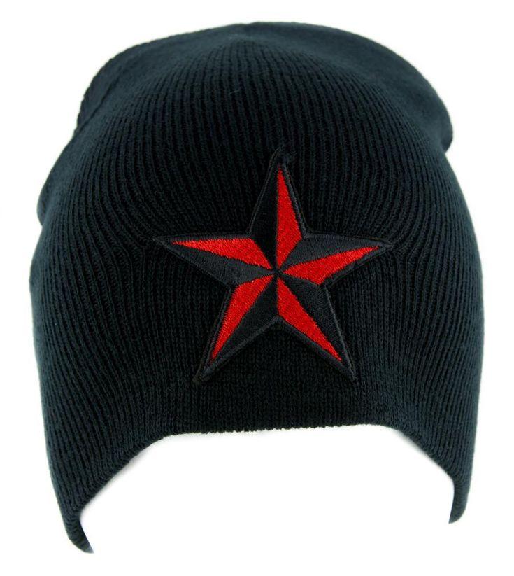 Red Nautical Star Beanie Alternative Clothing Knit Cap Rockabilly Tattoo Symbol  #baseballcap #gothic #hat #patch #blackmetal