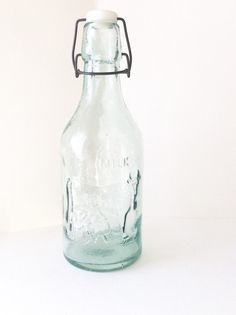 Vintage glass milk bottle. Absolutely Pure by SouthofFranceFinds