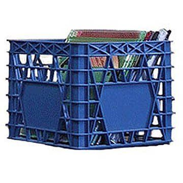 """Mini Milk Crate - Blue - Set of 2 (Blue) (4.5""""H x 5.5""""W x 5.5""""D) by Busch. $18.99. SOLD IN A SET OF 2.. Accommodates CD Cases. Size: 4.5""""H x 5.5""""W x 5.5""""D. Color: Blue. Small Size Milk Crate. A clever solution for all kinds of storage in the home and office! The Blue Mini Milk Crate is modeled after a regular milk crate, on a smaller scale. It easily accommodates CD cases; stack multiple units together for a custom CD rack! The small plastic milk crate is also great for kids toy..."""