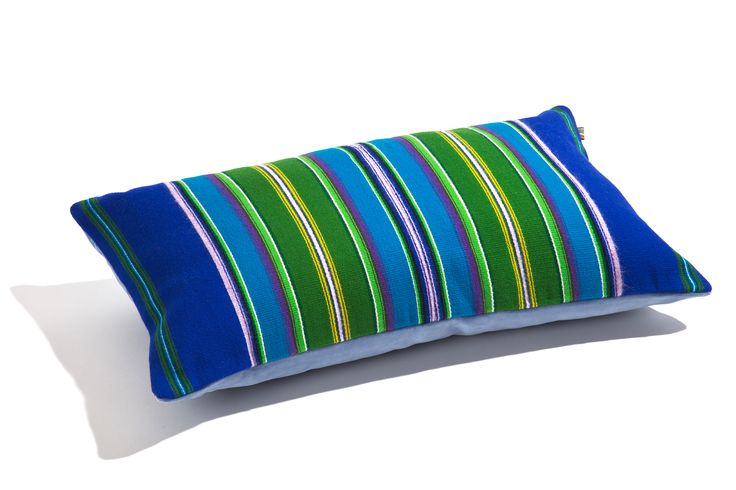 Cushion by Folka.pl. Hand made woolen fabric from Lowicz Region, Poland, and cotton velvet. Blue collection by folka.