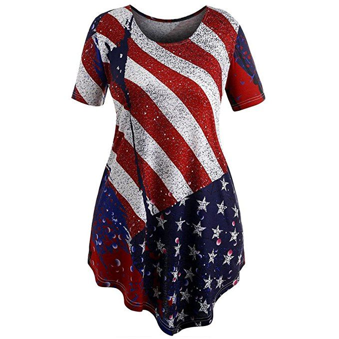 82743698616d09 TOOPOOT Plus Size Women's American Flag Tank Short Sleeve T-Shirt Irregular  Swing Blouse Patriotic