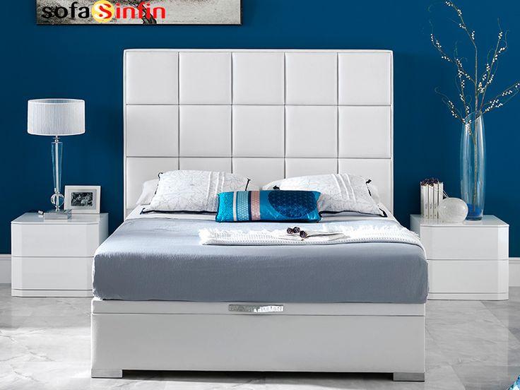 Cabecero de cama tapizado en piel y polipel, modelo Diana fabricado Dupen en Sofassinfin.es