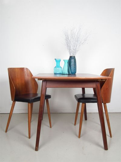 2 dining chairs with plywood curved back and black skai upholstery seating