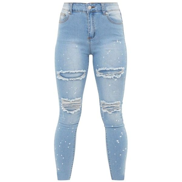 Petite Light Blue Wash Ripped Skinny Jeans ($38) ❤ liked on Polyvore featuring jeans, pants, distressed jeans, petite skinny jeans, light blue skinny jeans, denim skinny jeans and destroyed skinny jeans