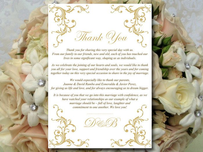 "Wedding Thank You Card Template Instant Download - Printable Wedding Thank You ""Diana"" Gold - Printable Wedding Card Template by PaintTheDayDesigns on Etsy"